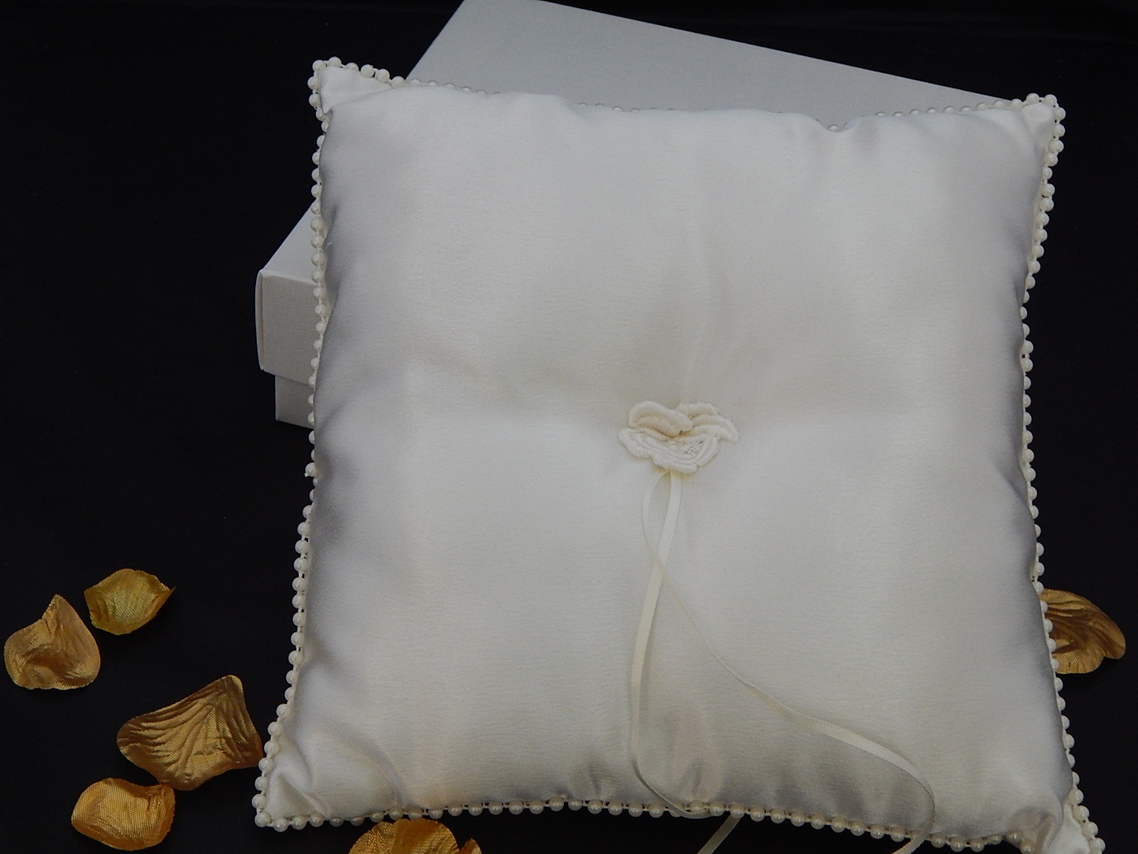 Handcrafted Lace Flower Wedding Ring Cushion