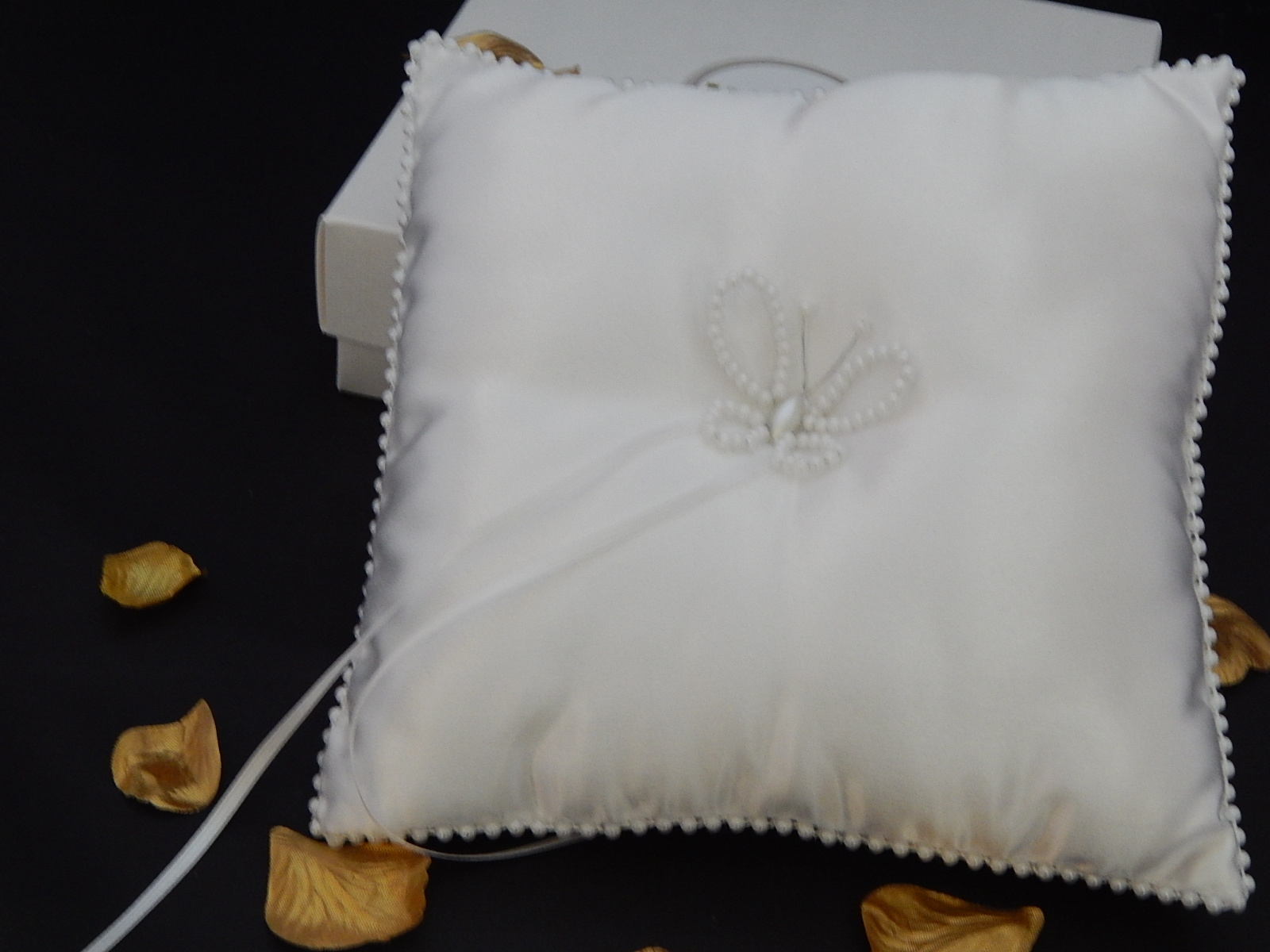 Handcrafted beaded butterfly wedding ring cushion