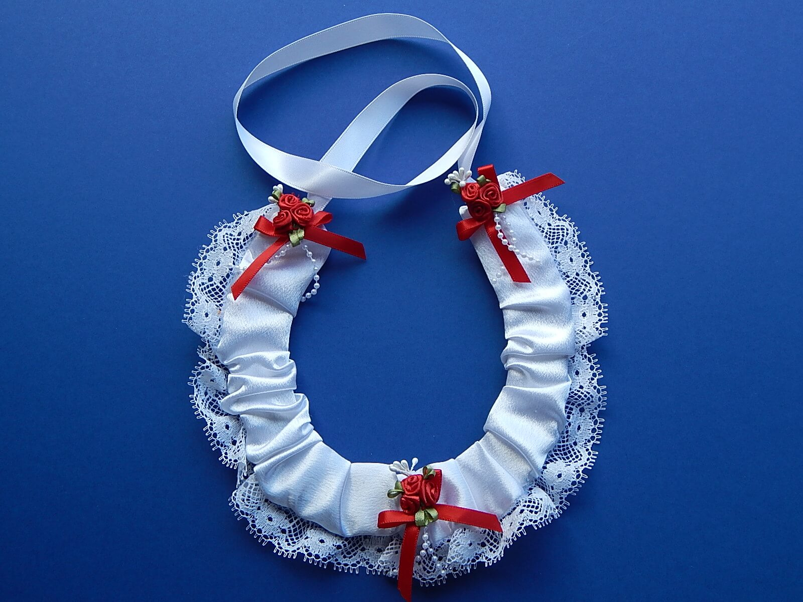 white satin horseshoe