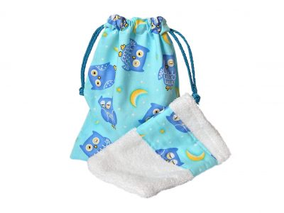 Handcrafted toilet bag and wash mitt