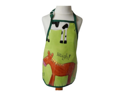 Kid's wipeable farm oilcloth apron