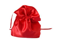 red satin posy bag