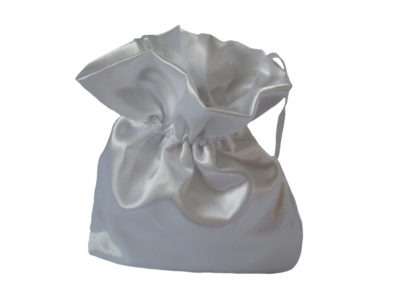 white satin posy bag