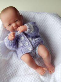 Premature baby lilac random cardigan in stocking stitch