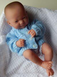 Premature baby pale blue cardigan