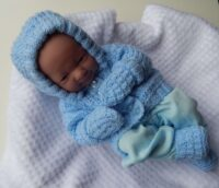 premature baby hooded jacket, mitts and boots in pale blue