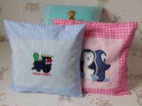 baby's embroidered picture cushion