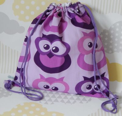 backpack style showerproof bag purple owls