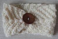 handknitted cream earwarmers