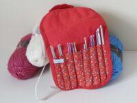 crochet hook roll red flowery
