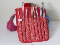 knitting needle roll red flowery