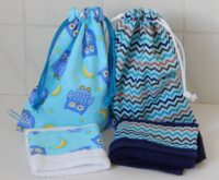 handcrafted toilet bag and facecloth